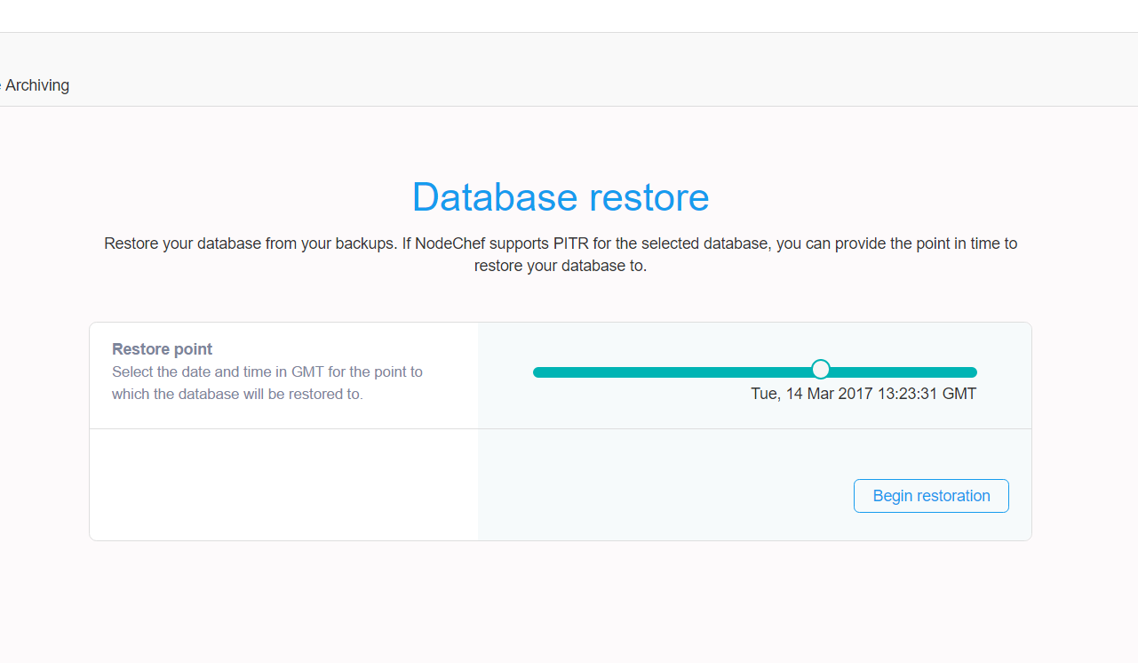 Postgres Point in time restore